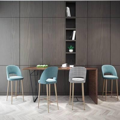 现代, 简约, 吧台, 桌椅, 组合