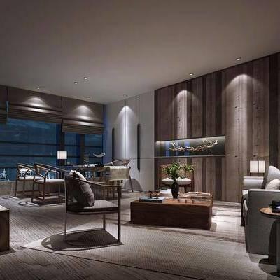 新中式茶室, 新中式, 茶室, 中式椅子, 椅子, 沙发组合, 植物