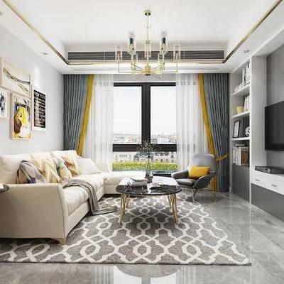 北欧客厅, 客厅, 现代客厅, 沙发, 茶几, 电视背景, 吊灯, 挂画