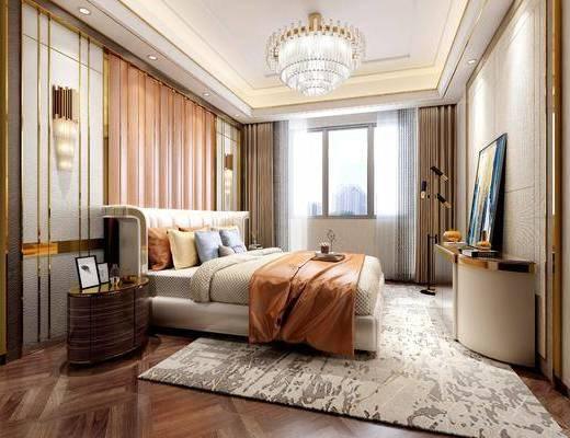 现代卧室模型, 现代, 卧室, 床, 现代吊灯, 现代壁灯, 床头柜