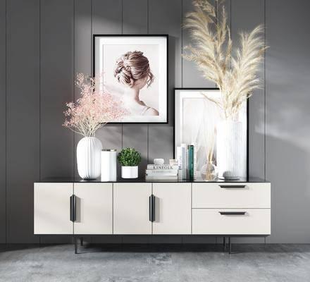 电视柜, 柜架组合, 摆件组合, 装饰画, 盆栽