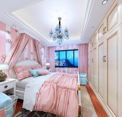 简欧, 卧室, 吊灯, 床, 衣柜, 窗帘, 地毯, 床头柜, 台灯
