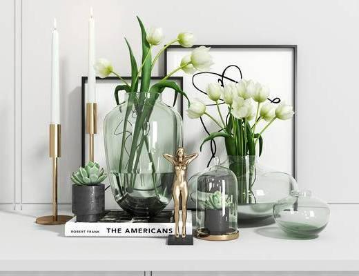 擺件組合, 花瓶花卉, 燭臺擺件, 掛畫組合, 北歐