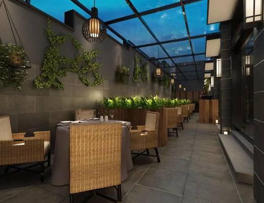 餐厅, 餐桌椅, 椅子, 桌椅组合, 吊灯, 绿植