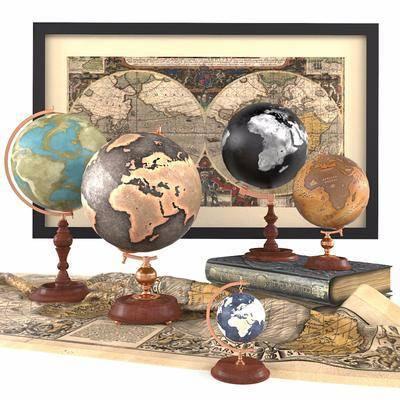 地球仪, 摆件组合, 装饰画组合, 装饰画, 挂画, 现代