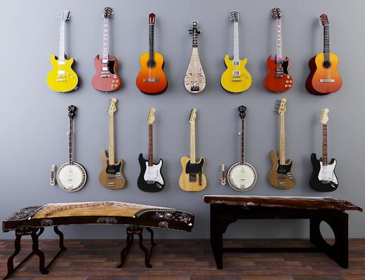 木质琴, 乐器, 吉他, 古筝