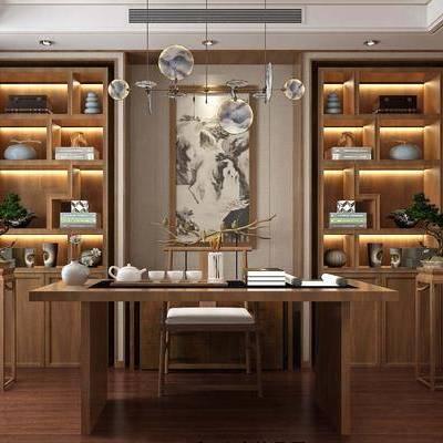 书房, 书柜, 装饰柜, 书籍, 书桌, 单人椅, 装饰架, 盆栽, 绿植, 植物, 装饰品, 陈设品, 摆件, 中式
