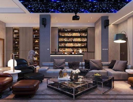 地下室, 酒吧, 影音室, 沙发组合, 茶几, 电视