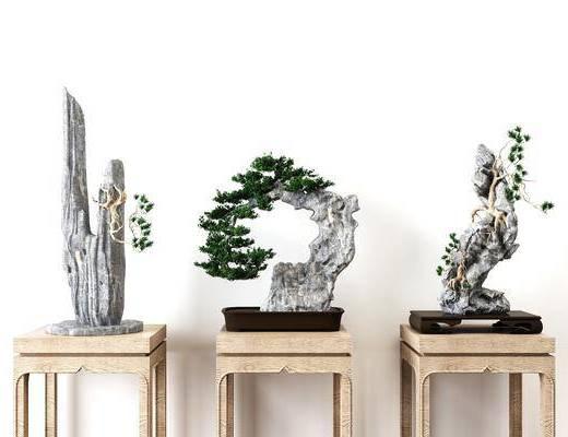 摆件组合, 新中式, 新中式盆栽, 新中式摆件组合, 植物, 假山, 盆栽, 端景台