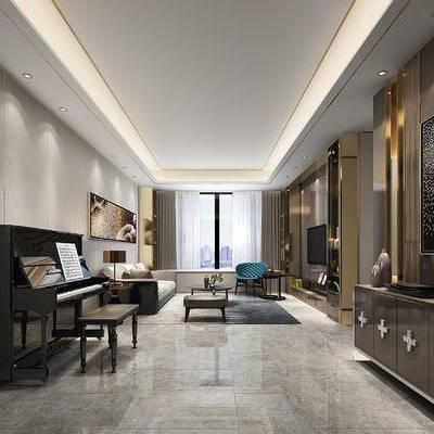 现代, 现代客厅, 钢琴, 沙发组合, 装饰柜, 装饰画