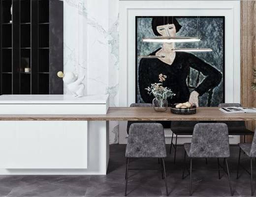 吧椅, 餐桌椅, 吊灯, 摆件, 装饰品, 玩偶, 绿植