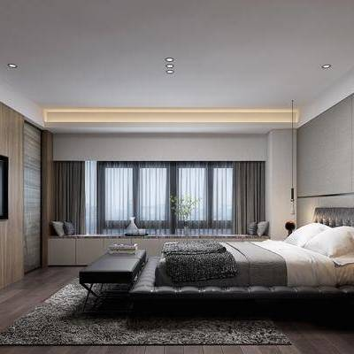 现代卧室, 现代, 卧室, 床, 床头柜, 脚踏, 吊灯, 飘窗, 花瓶
