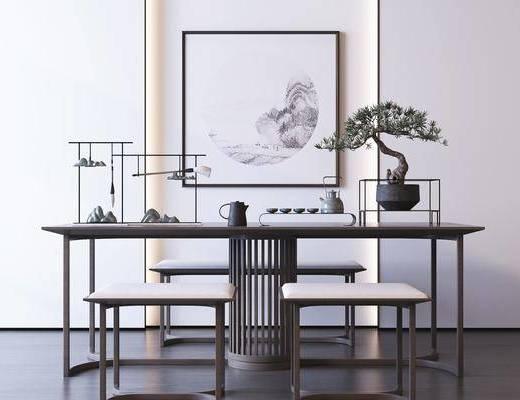 新中式, 桌椅组合, 摆件组合