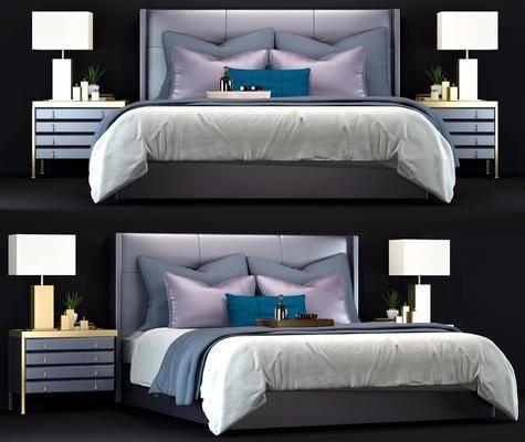 床具组合, 现代床具组合, 双人床, 床头柜, 台灯, 摆件, 现代