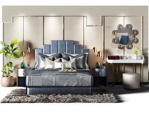 现代风格双人床, 现代, 双人床, 床, 植物, 吊灯, 摆件, 凳子, 妆台, 镜子