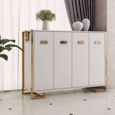 鞋柜, 边柜饰品, 边柜, 装饰柜, 盆栽, 中式