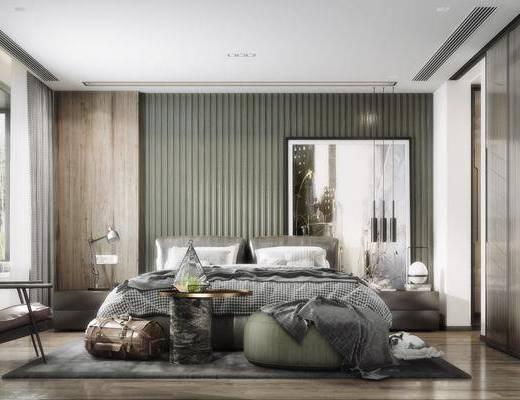 双人床, 装饰画, 单椅, 床具组合, 床头柜