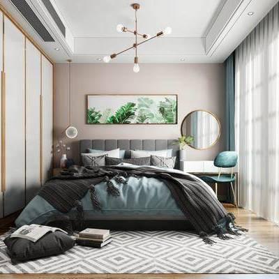 现代卧室, 北欧卧室, 卧室, 双人床, 北欧双人床