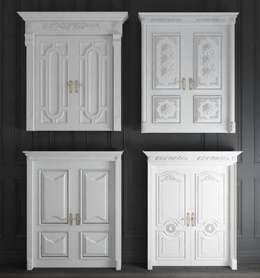 双开门, 欧式雕花实木双开门3d模型, 雕花, 实木门
