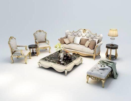 多人沙发, 茶几, 单人沙发, 躺椅, 边几, 台灯, 欧式
