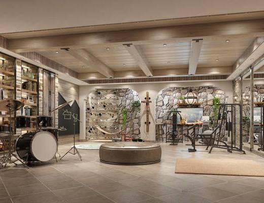 娱乐室, 影音室, 书柜, 书籍, 绿植植物, 鼓, 现代