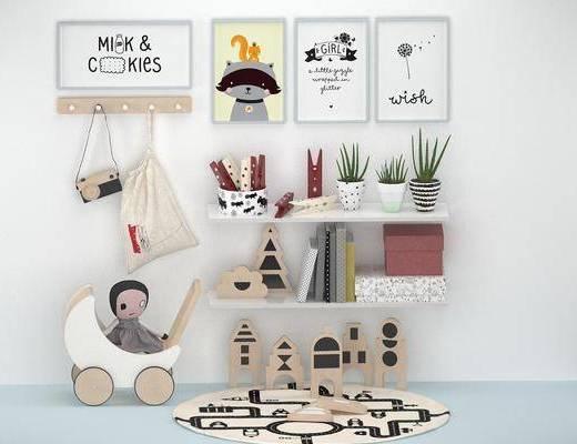 玩具, 陈设品, 摆件, 装饰画, 花瓶, 摆设