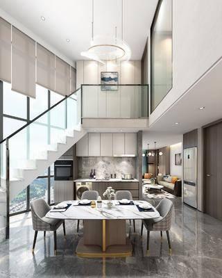 现代, 餐厅, 复式, 厨房, 客厅, 沙发组合, 餐桌椅, 冰箱, 椅子, 桌子, 单椅