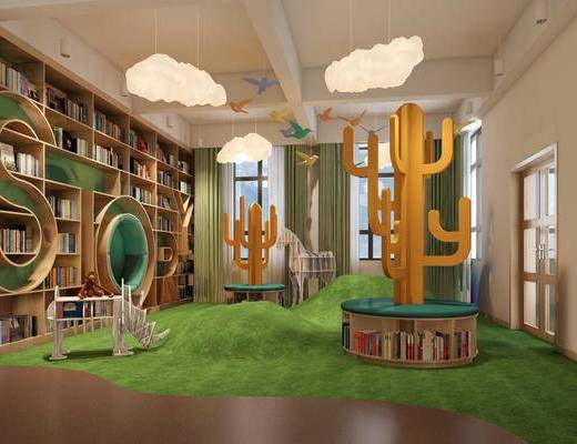 幼儿园, 现代幼儿园, 图书馆, 书籍, 书柜