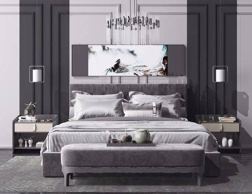 床头柜, 吊灯, 边几, 挂画, 双人床, 壁灯