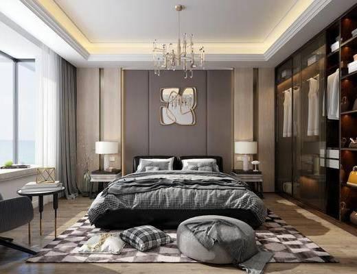 现代卧室, 床具, 衣柜, 现代衣柜, 吊灯, 台灯, 床头柜, 边几, 沙发, 镜子, 现代镜子, 装饰镜