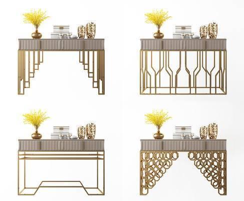现代奢华金属边柜, 装饰架, 装饰柜, 玄关柜, 玄关架, 案几, 组合