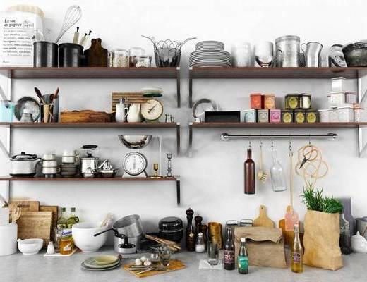 北欧简约, 北欧厨房器具, 厨房器具, 厨房器具组合, 厨房摆件, 下得乐3888套模型合辑