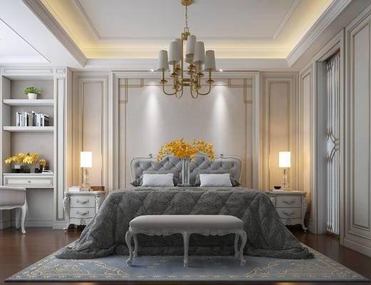 欧式, 双人床, 灯具, 脚踏, 卧室