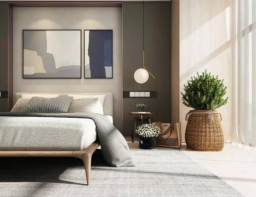 卧室, 新中式卧室, 床, 装饰画, 盆栽