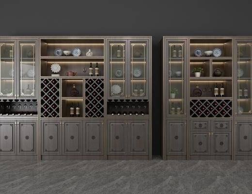 酒柜, 装饰柜, 酒瓶, 摆件, 装饰品, 陈设品, 新中式