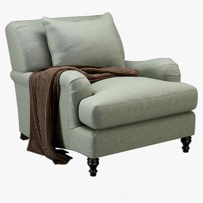 休闲椅, 单人沙发, 布艺, 抱枕, 现代