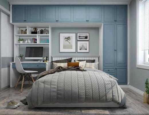 卧室, 双人床, 书桌, 单人椅, 装饰画, 挂画, 组合画, 摆件, 装饰品, 陈设品, 北欧