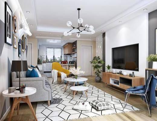 北欧客厅, 厨房, 多人沙发, 茶几, 电视柜, 单椅, 挂画, 吧椅, 吊柜, 隔断