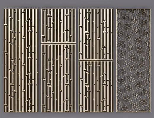 隔断, 屏风, 新中式, 金属隔断, 金属屏风