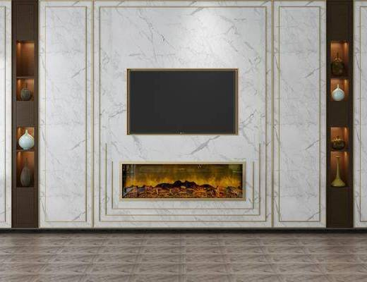 电视背景墙, 置物架, 壁炉