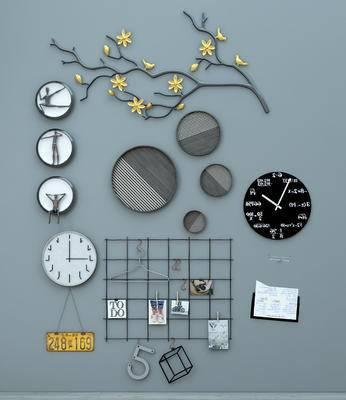现代墙饰组合, 钟表墙饰, 相片墙饰, 现代墙饰, 挂件, 装饰品, 摆件