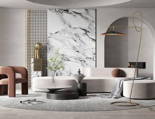 现代客厅, 沙发, 茶几, 墙饰, 落地灯