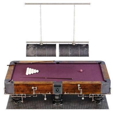 蒸汽风, 工业风, 台球, 台球桌, 现代蒸汽工业风台球桌组合