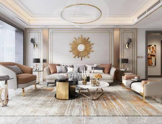 现代客厅, 厨房, 沙发, 挂饰