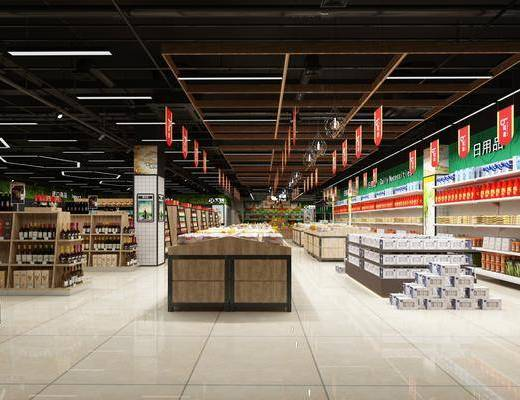 超市, 装饰架, 牛奶, 食物, 酒, 现代