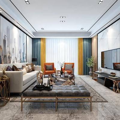 现代客厅, 现代, 客厅, 沙发组合, 布艺沙发, 茶几, 椅子, 电视柜, 窗帘, 背景墙