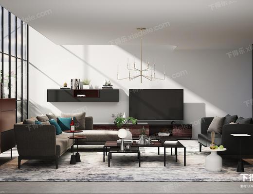 客厅, 组合沙发, 茶几, 转角沙发, 电视柜, 组合茶几, 吊灯, 边柜, 书架, 角几