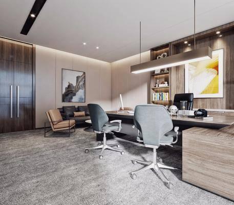 办公室, 办公桌, 办公椅, 单椅, 椅子, 挂画, 装饰画, 沙发, 电脑, 书柜, 书籍, 书本, 摆件, 装饰品, 现代