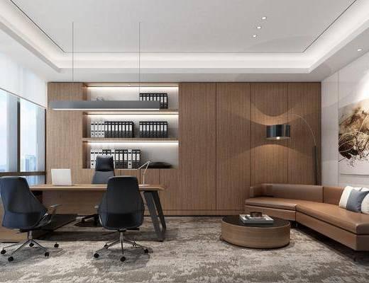 办公室, 书桌, 单人椅, 办公椅, 多人沙发, 圆弧沙发, 装饰画, 挂画, 茶几, 落地灯, 摆件, 装饰品, 陈设品, 吊灯, 现代