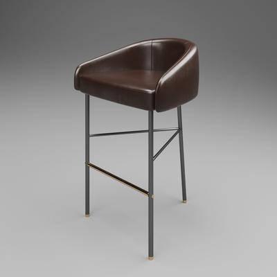 工业风, 吧椅, 单椅, 棕色